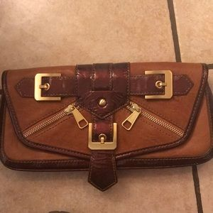 Isabella Fiore Leather Clutch Wallet purse Cognac